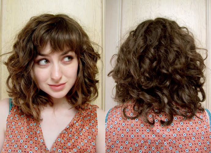 Straight bangs with curly lengthy hair