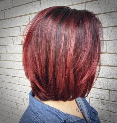 Daring Red Bob Hair Hair Highlights