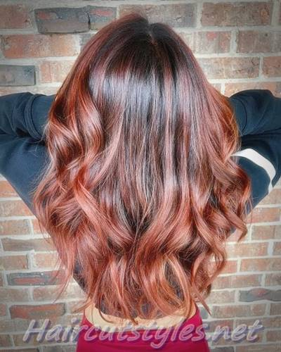 Trendy Red Balayage Hair Highlights