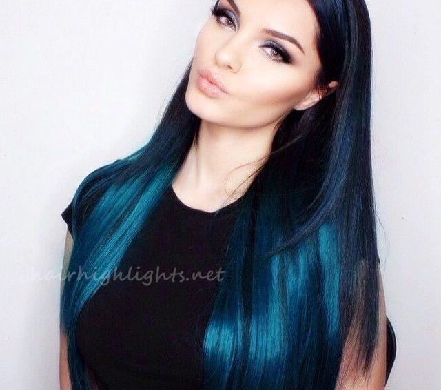 Long Blue Hair Color With A Simple Black Dress Min Hair Highlights