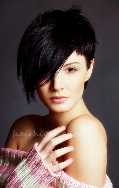 short black hair brown highlights